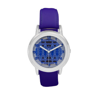blue black abstract pattern wristwatches