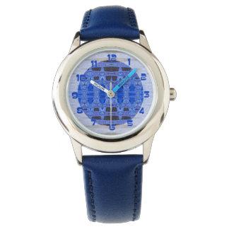 blue black abstract pattern wrist watch