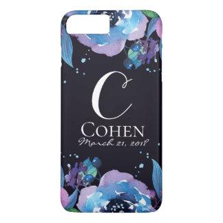 Blue Black and Purple Floral Wedding Monogram Case-Mate iPhone Case