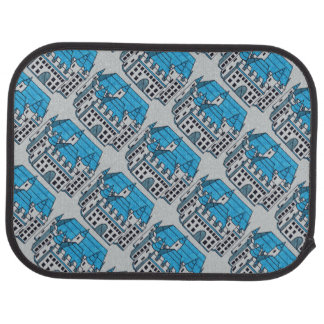 Blue Black and White Castle Drawing Car Mat