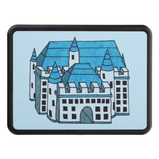 Blue Black and White Castle Drawing Trailer Hitch Cover