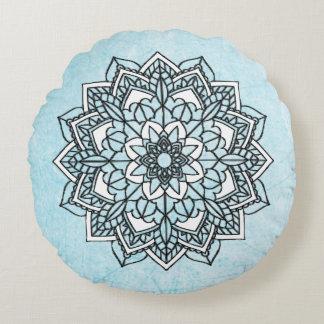 Blue Black and White  Mandala Round Pillow