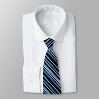 Blue, black and white stripe pattern tie