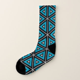 Blue Black and White Triangular Design Socks 1