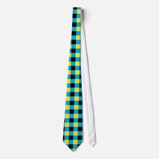 Blue, black and yellow checkered tie