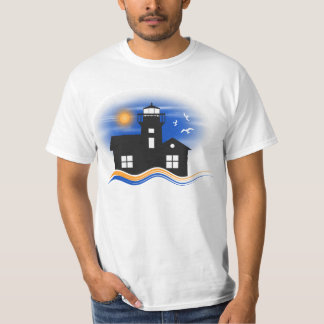 Blue Black and Yellow Lighthouse Seascape Mens T-Shirt