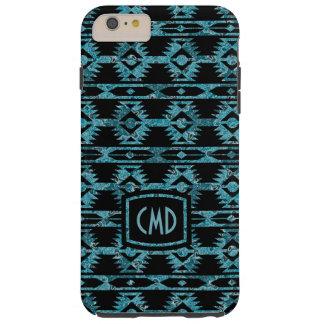 Blue & Black Aztec Tribal Geometric Pattern 2 Tough iPhone 6 Plus Case