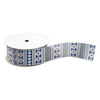 Blue Black Aztec Tribal Print Geometric Pattern Grosgrain Ribbon
