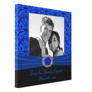 Blue & Black Baroque Jewel Add A Photo Frame Up Gallery Wrap Canvas