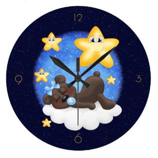Blue Black Bear Large Clock