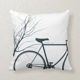 Blue black  bike throw pillow