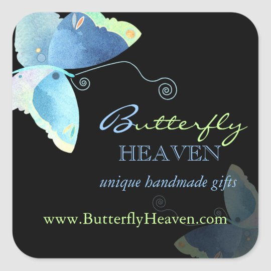 Blue + Black Butterfly Business Marketing Square Sticker