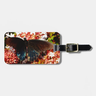 Blue Black Butterfly on pink flowers Luggage Tag