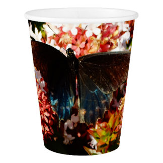 Blue Black Butterfly on pink flowers Paper Cup