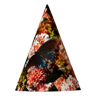 Blue Black Butterfly on pink flowers Party Hat