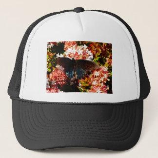 Blue Black Butterfly on pink flowers Trucker Hat