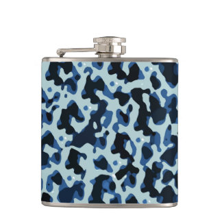 Blue Black Camo Abstract Pattern Flasks
