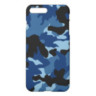 Blue Black Camo Cool Camouflage Pattern Glossy iPhone 8 Plus/7 Plus Case