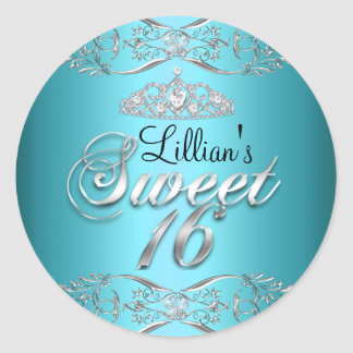 Blue Black Damask & Tiara Sweet 16 Sticker