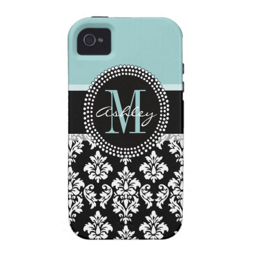 BLUE, BLACK DAMASK, YOUR MONOGRAM ,YOUR NAME Case-Mate iPhone 4 COVER