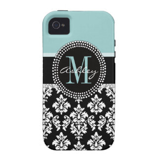 BLUE, BLACK DAMASK, YOUR MONOGRAM ,YOUR NAME iPhone 4 CASE