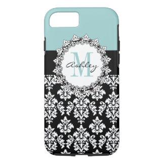 Blue Black Fleur de Lis Damask Monogram Case-Mate iPhone Case