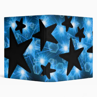 Blue Black Glowing Stars Binder