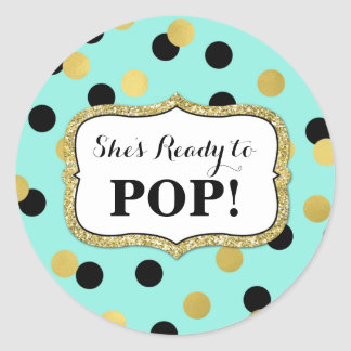 Blue Black Gold Confetti Baby Shower Ready to Pop Classic Round Sticker