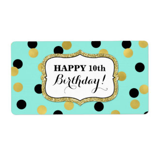 Blue Black Gold Confetti Birthday Labels