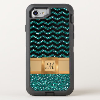 Blue Black & Gold Glitter Chevron Pattern Monogram OtterBox Defender iPhone 7 Case