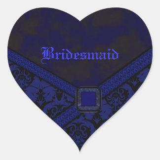 Blue & Black Goth Lace Wedding Heart Sticker