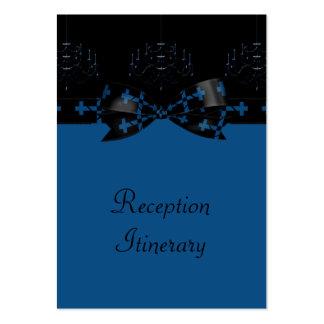 Blue & Black Gothic Chandelier & Cross Wedding Large Business Card