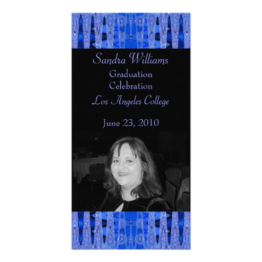 Blue black graduation customized photo card