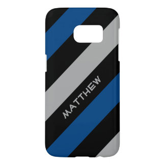 Blue black grey | Stylish diagonal stripes Samsung Galaxy S7 Case
