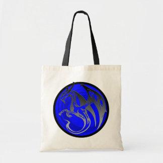 Blue black grunge wing dragon circle tote bag