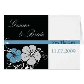 Blue & Black Hibiscus Save The Date Card