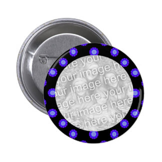 blue black Kaleidoscope pattern photo fame 2 Inch Round Button