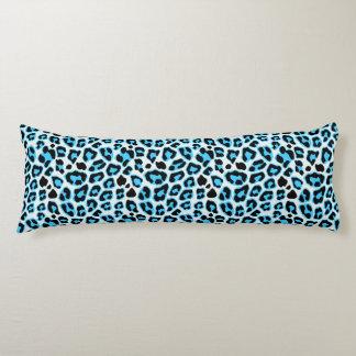 Blue & Black Leopard Print Pattern Body Pillow
