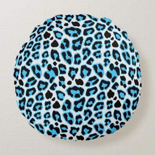 Blue & Black Leopard Print Pattern Round Pillow