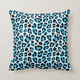 Blue & Black Leopard Print Pattern Throw Pillow