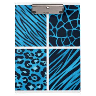 Blue Black Leopard Tiger Giraffe Collage Clipboards