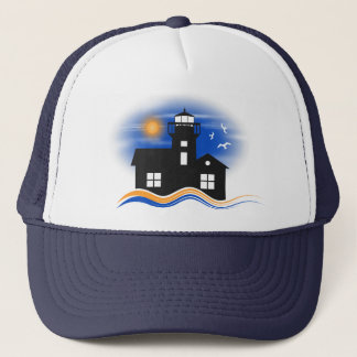 Blue Black Lighthouse Seascape Silhouette Cap