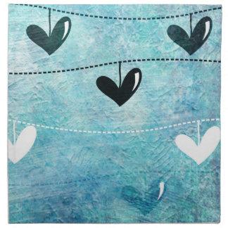 Blue & Black Love on a String Design Printed Napkin