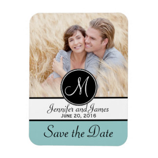 Blue Black Monogram Save the Date Photo Magnets