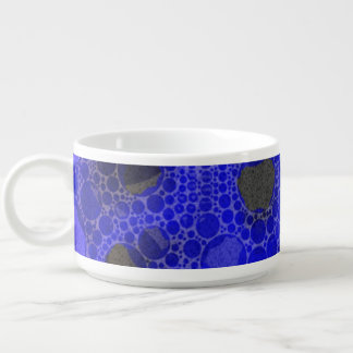 Blue Black Overprinted Abstract Chili Bowl