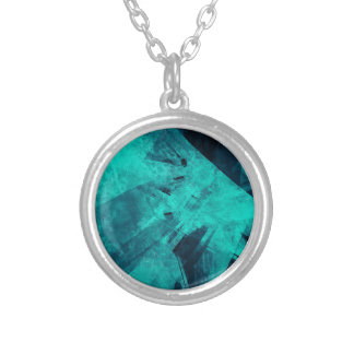 Blue-Black painting Silver Plated Necklace