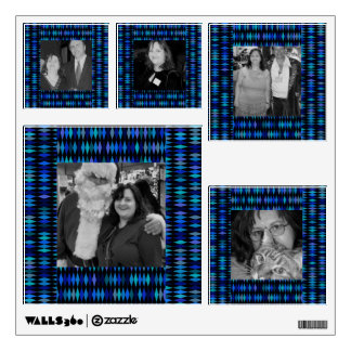 blue black pattern photo frames wall decal