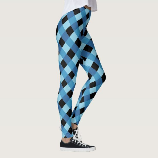 Blue black plaid pattern leggings
