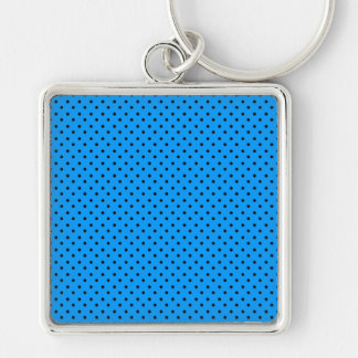 Blue Black Polka Dots Keychain