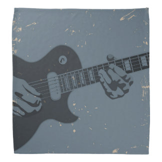 Blue & Black Rustic Guitar Player Bandana